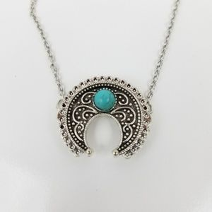Boho Faux Turquoise Silver Charm Squash Pendant